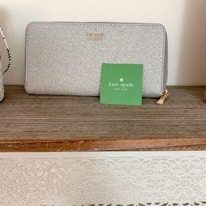 NWT Kate Spade Silver Wallet